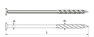 Screw shank nails made of spring steel wire